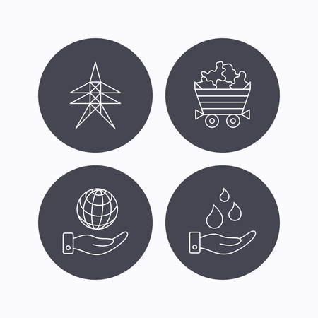 mines: Save water, planet and electricity station icons. Minerals linear sign. Flat icons in circle buttons on white background. Vector