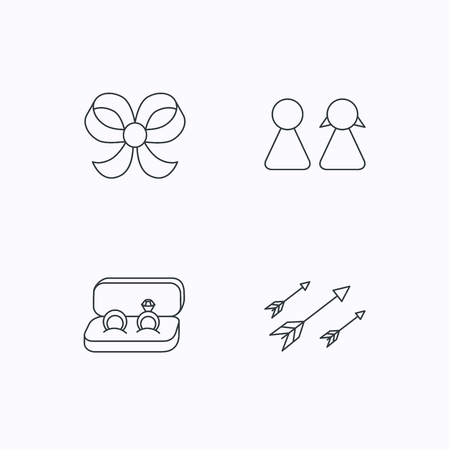 bowknot: Arrows, couple and wedding rings icons. Bow-knot linear sign. Flat linear icons on white background. Vector