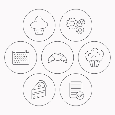porcion de torta: Croissant, brioche and piece of cake icons. Sweet muffin linear sign. Check file, calendar and cogwheel icons. Vector Vectores