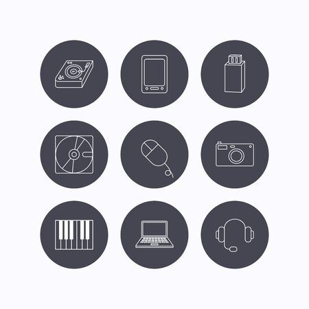 usb disk: Tablet PC, USB flash and notebook laptop icons. Club music, hard disk and photo camera linear signs. Piano, headphones icons. Flat icons in circle buttons on white background. Vector Illustration