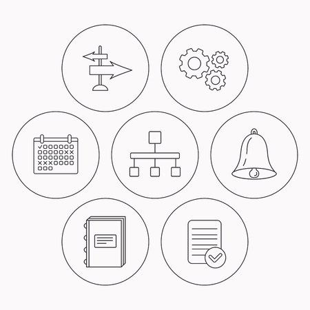 check book: Book, hierarchy and direction arrows icons. Alarm bell linear sign. Check file, calendar and cogwheel icons. Vector