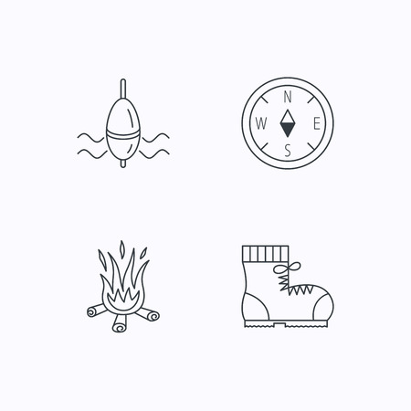 east river: Bonfire, fishing float and hiking boots icons. Compass linear sign. Flat linear icons on white background. Vector Illustration