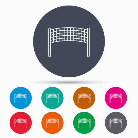 volleyball net: Volleyball net icon. Beach sport game sign. Icons in colour circle buttons. Vector Illustration