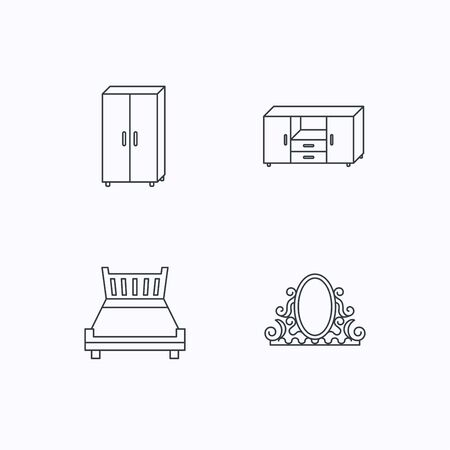 drawers: Double bed, vintage mirror and cupboard icons. Chest of drawers linear sign. Flat linear icons on white background. Vector Illustration