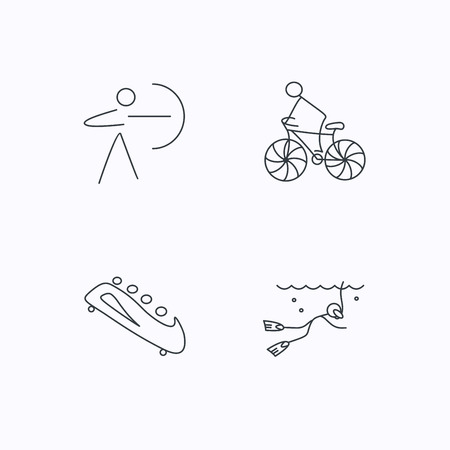 bobsled: Diving, biking and archery icons. Bobsled linear sign. Flat linear icons on white background. Vector Illustration