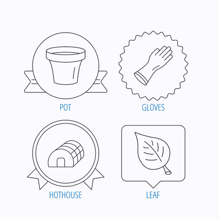 hothouse: Leaf, scissors and pot icons. Hothouse linear sign. Award medal, star label and speech bubble designs. Vector Illustration