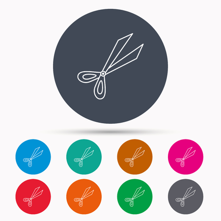 trimmer: Gardening scissors icon. Secateurs tool sign symbol. Icons in colour circle buttons. Vector Illustration