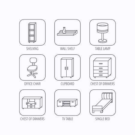 shelving: Single bed, TV table and shelving icons. Office chair, table lamp and cupboard linear signs. Wall shelf, chest of drawers icons. Flat linear icons in squares on white background. Vector Illustration