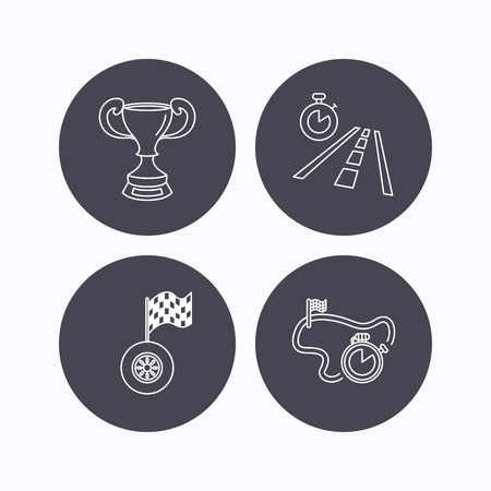race winner: Winner cup, race timer and flag icons. Travel time linear sign. Flat icons in circle buttons on white background. Vector