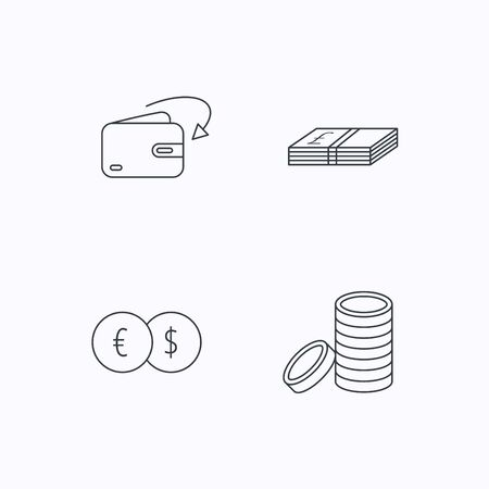 receive: Currency exchange, cash money and coins icons. Receive money linear sign. Flat linear icons on white background. Vector