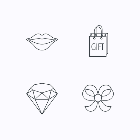 bowknot: Lips, brilliant and gift icons. Bow-knot linear sign. Flat linear icons on white background. Vector