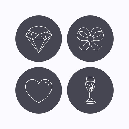 shopping champagne: Love heart, brilliant and engagement ring icons. Bow-knot linear sign. Flat icons in circle buttons on white background. Vector Illustration