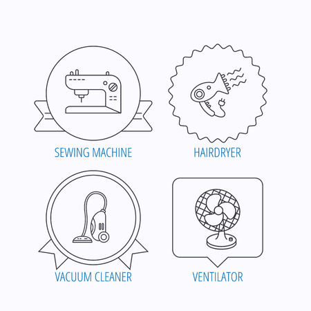 ventilator: Ventilator, sewing machine and hairdryer icons. Ventilator linear sign. Award medal, star label and speech bubble designs. Vector