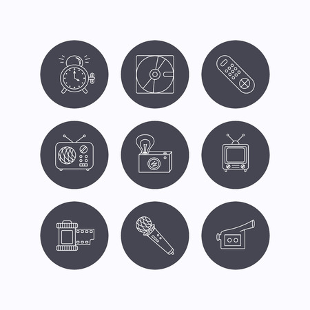 clock radio: Microphone, video camera and photo icons. Alarm clock, retro radio and TV remote linear signs. Flat icons in circle buttons on white background. Vector Illustration