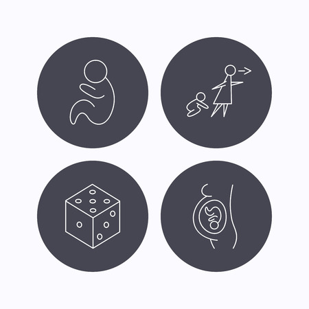 paediatrics: Pregnancy, paediatrics and dice icons. Unattended linear sign. Flat icons in circle buttons on white background. Vector