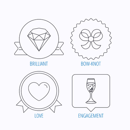 brilliant heart: Love heart, brilliant and engagement ring icons. Bow-knot linear sign. Award medal, star label and speech bubble designs. Vector