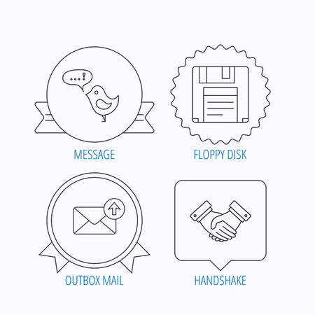 outbox: Outbox mail, message and handshake icons. Floppy disk linear sign. Award medal, star label and speech bubble designs. Vector