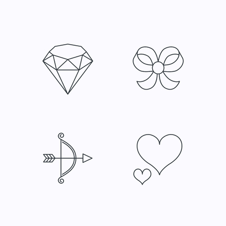 bowknot: Love heart, brilliant and bow-knot icons. Bow and arrow linear signs. Flat linear icons on white background. Vector Illustration