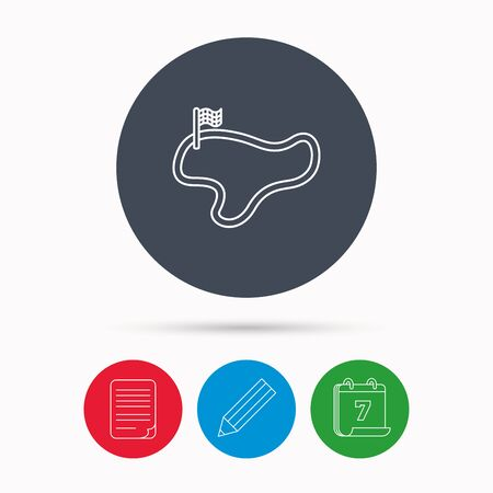 lap: Race track or lap icon. Finish flag sign. Calendar, pencil or edit and document file signs. Vector Illustration