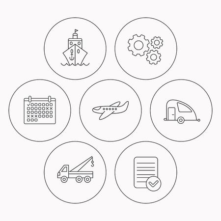 planos electricos: Iconos del transporte. Cruise, avión y van signos lineales. icono de la línea plana evacuador. Comprobador de archivo, calendario y los iconos de la rueda dentada. Vector