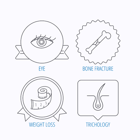 vision loss: Bone fracture, weight loss and trichology icons. Eye linear sign. Award medal, star label and speech bubble designs. Vector