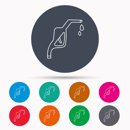 nozzle: Gasoline pump nozzle icon. Gas or Petrol station sign. Icons in colour circle buttons. Vector