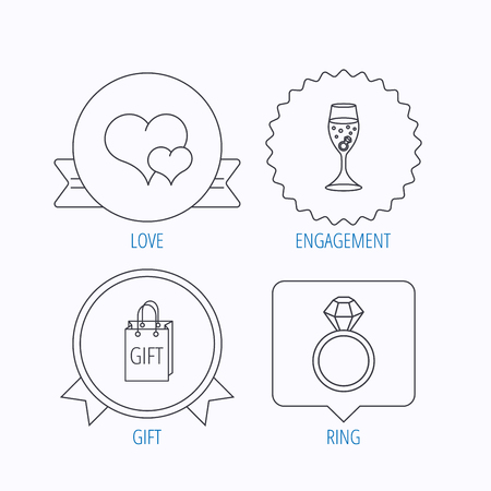 shopping champagne: Love heart, gift bag and wedding ring icons. Engagement linear sign. Award medal, star label and speech bubble designs. Vector