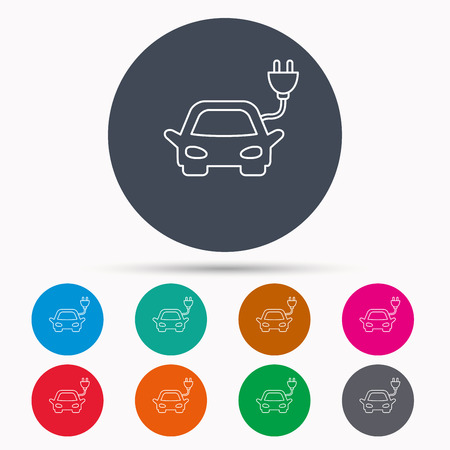 hybrid: Electric car icon. Hybrid auto transport sign. Icons in colour circle buttons. Vector