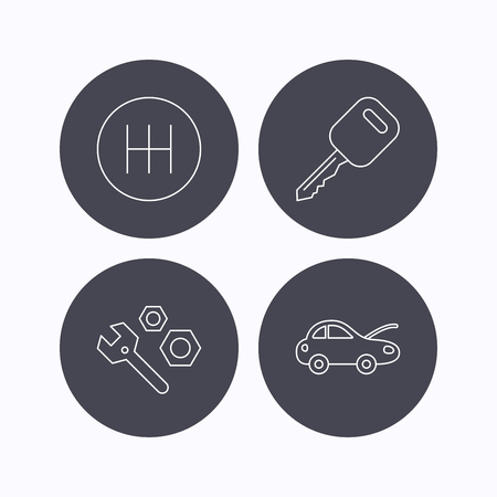 gearbox: Car key, repair tools and manual gearbox icons. Car repair, transmission linear signs. Flat icons in circle buttons on white background. Vector