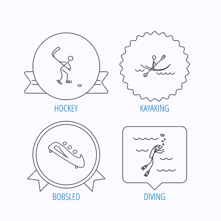 bobsled: Ice hockey, diving and kayaking icons. Bobsled linear sign. Award medal, star label and speech bubble designs. Vector