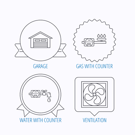 ventilation: Ventilation, garage and water counter icons. Gas counter linear sign. Award medal, star label and speech bubble designs. Vector