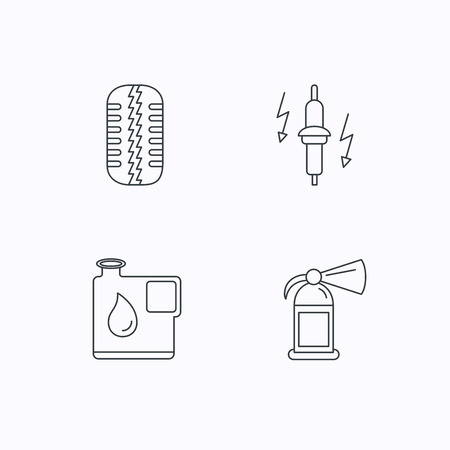 tread: Wheel, fire extinguisher and spark plug icons. Fuel jerrycan, tire tread linear signs. Flat linear icons on white background. Vector Illustration