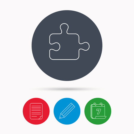 logical: Puzzle icon. Jigsaw logical game sign. Boardgame piece symbol. Calendar, pencil or edit and document file signs. Vector
