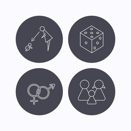 fiscalizacion: Male, female, dice and family icons. Under supervision linear sign. Flat icons in circle buttons on white background. Vector