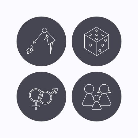 supervisión: Masculina, femenina, dados y iconos de la familia. Bajo el signo de la supervisión lineal. iconos planos de botones de círculo sobre fondo blanco. Vector