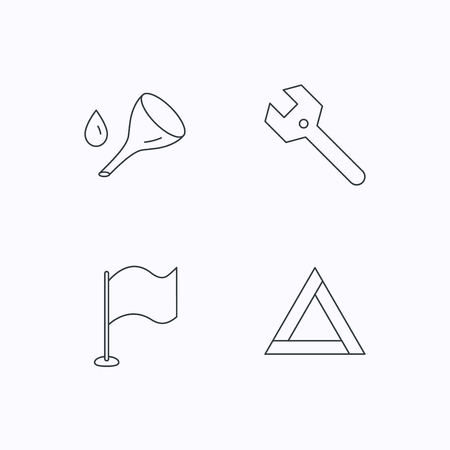 oil change: Flag pointer, emergency sign and wrench key icons. Emergency triangle, oil change linear signs. Flat linear icons on white background. Vector Illustration