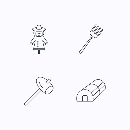 hothouse: Hammer, hothouse and scarecrow icons. Pitchfork linear sign. Flat linear icons on white background. Vector Illustration