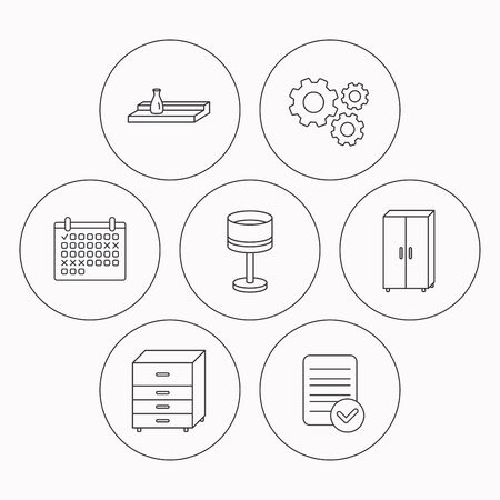 chest wall: Table lamp, cupboard and wall shelf icons. Chest of drawers linear sign. Check file, calendar and cogwheel icons. Vector