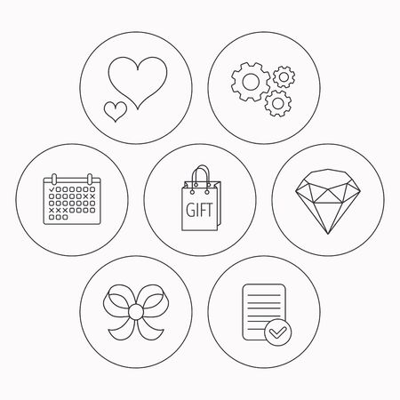 brilliant heart: Love heart, gift bag and brilliant icons. Bow-knot linear sign. Check file, calendar and cogwheel icons. Vector