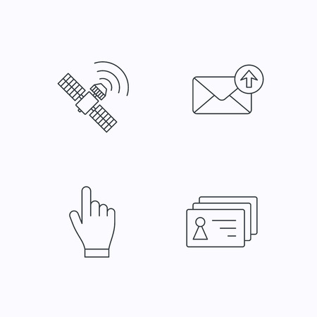 outbox: Hand pointer, contacts and gps satellite icons. Outbox mail linear sign. Flat linear icons on white background. Vector