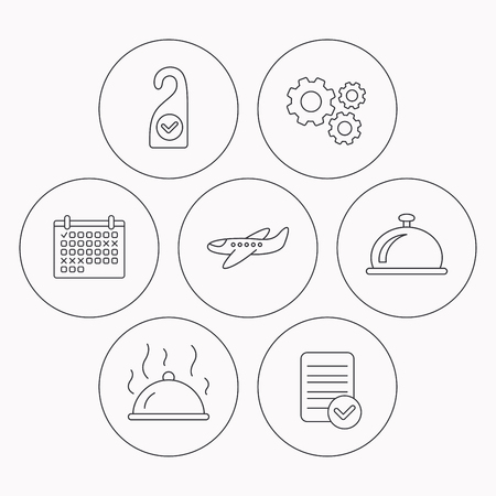 check room: Hot food, reception bell and clean room icons. Airplane linear sign. Check file, calendar and cogwheel icons. Vector