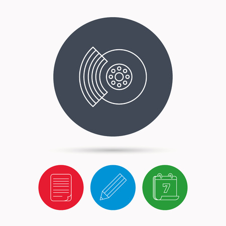 overhaul: Brakes icon. Auto disk repair sign. Calendar, pencil or edit and document file signs. Vector Illustration