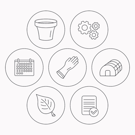 hothouse: Leaf, scissors and pot icons. Hothouse linear sign. Check file, calendar and cogwheel icons. Vector