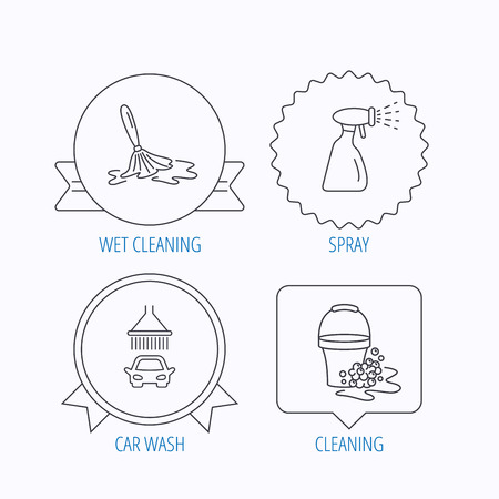 foam bubbles: Car wash icons. Automatic cleaning station linear signs. Bucket with foam bubbles, spray flat line icons. Award medal, star label and speech bubble designs. Vector Illustration