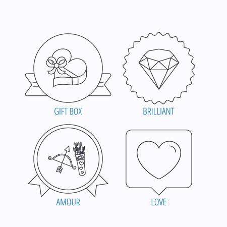 amour: Love heart, brilliant and gift box icons. Amour bow with arrows linear signs. Award medal, star label and speech bubble designs. Vector