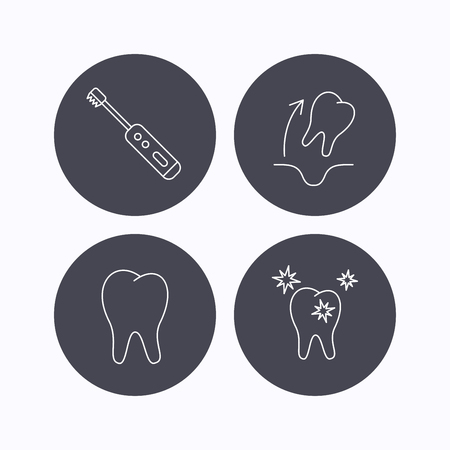 paradontosis: Tooth extraction, electric toothbrush icons. Healthy teeth linear sign. Flat icons in circle buttons on white background. Vector Illustration