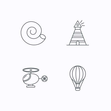 thin shell: Lighthouse, air balloon and helicopter icons. Shell linear sign. Flat linear icons on white background. Vector Illustration