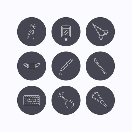 contraception: Medical mask, blood and dental pliers icons. Contraception, scalpel and clyster linear signs. Tweezers, pipette and forceps flat line icons. Flat icons in circle buttons on white background. Vector