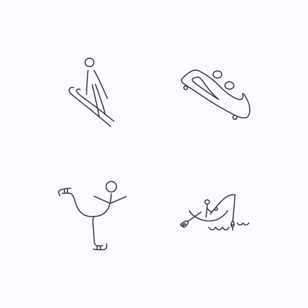 bobsled: Fishing, figure skating and bobsled icons. Ski jumping linear sign. Flat linear icons on white background. Vector Illustration