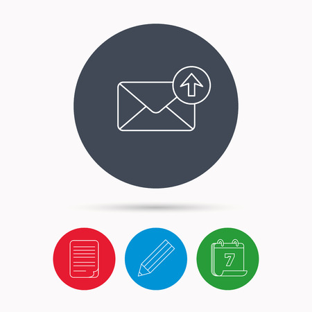 outbox: Mail outbox icon. Email message sign. Upload arrow symbol. Calendar, pencil or edit and document file signs. Vector